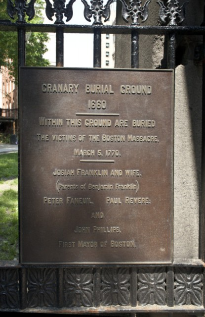 1.0 Granary Buring Ground, 1690, Boston, MA. Front entry plaque.