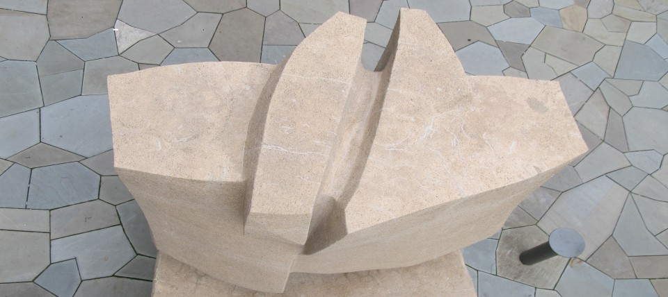 0.1 Constantino Nivola, 1962, Morse College, Yale University.  Top view of cast stone sculpture in Eero Saarinen courtyard after treatment.