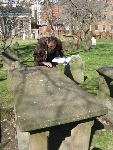 1.1.3 CT sandstone table gravemarker, 18th Century, Ancient Burying Ground, Hartford, CT.  Assessment and specifications.