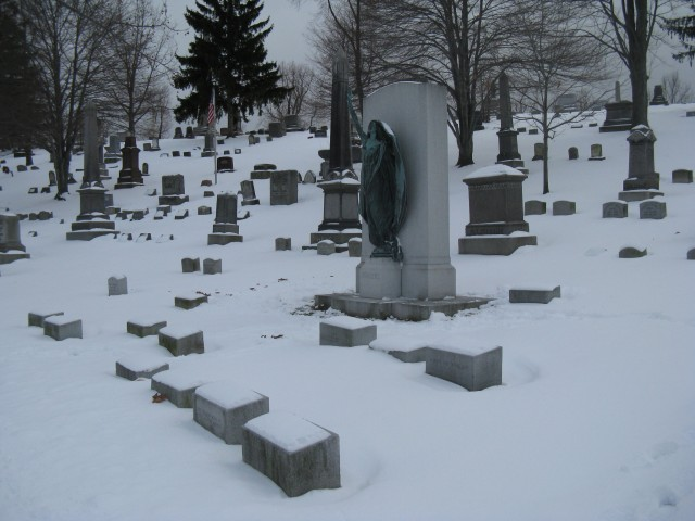 1.1.9 Rodgers Memorial, Harriet Frishmuth, 1927, Forest Lawn Cemetery, Buffalo, NY.  Planning overview of the monument and markers.