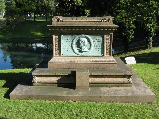 1.2.8 Tracey Memorial, Augustus Saint Gaudens, Stanford White, 1890, Forest Lawn  Cemetery, Buffalo, NY. Overview of the monument.