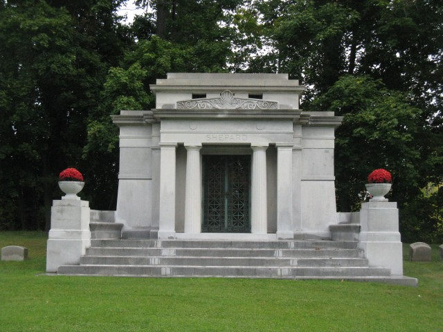 1.2.9 Shepard Mausoleum, Arthur Pickering, Forest Lawn  Cemetery, Buffalo, NY. Overview of the monument during assessment .