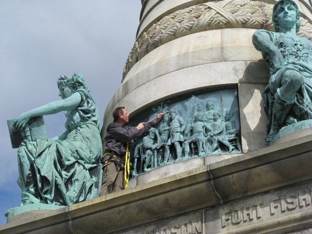 1.3.1 Moffit & Doyle, 1887, Lee Surrendering to Grant, , Soldiers & Sailors Monument, New Haven, CT.
