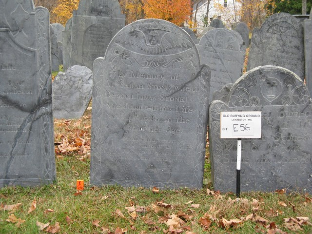 1.3.6 18th Century Slate Grave Markers,  Olde Burying Ground, Lexington, MA.  Condition assessment of markers before treatment.