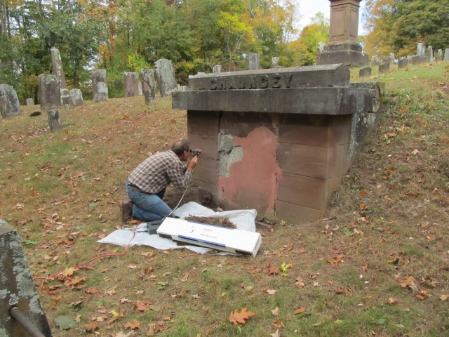 1.3.9 Chauncy Crypt, Old Cemetery, Durham, CT.  Viewing Crypt interior while assessing failing door.