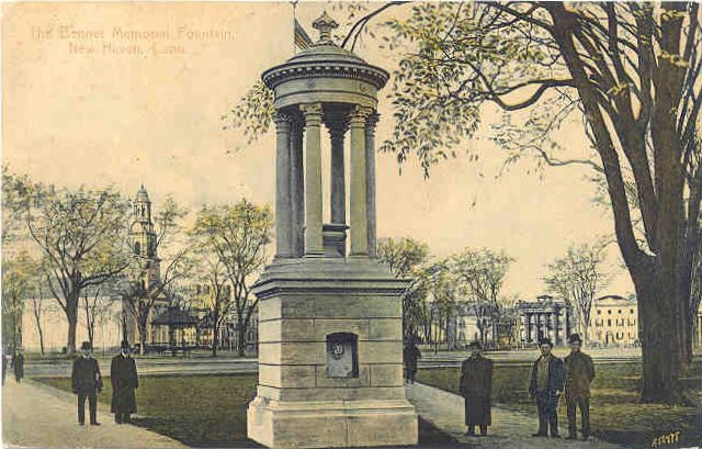 1.4.4 Bennett Fountain, New Haven Green, CT. Postcard circa 1908 that shows original architectural detail before loss.