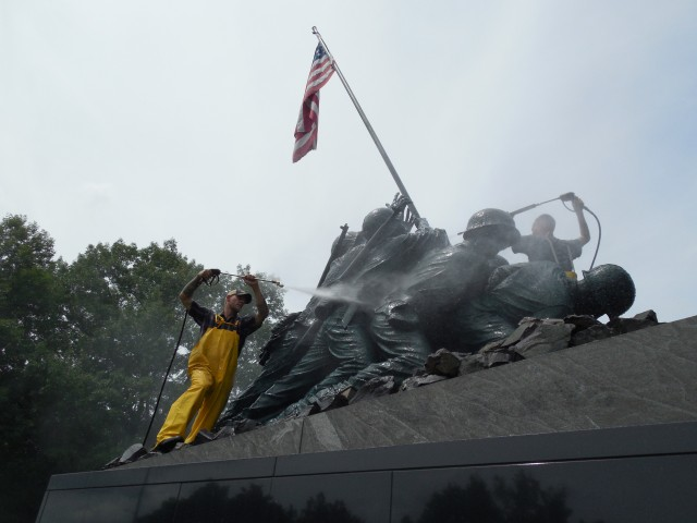 2.1.6.0 National Iwo Jima Memorial, 1995, New Britain, CT. Cleaning bronze sculpture.