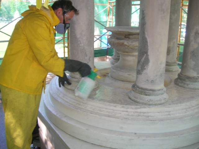 2.1.8 Bennett Fountain, John Ferguson Weir, 1907, New Haven Green, CT.  Cleaning marble structure.