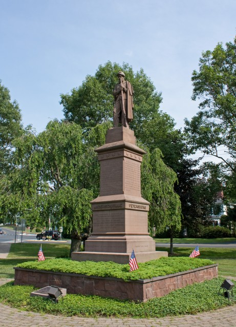 2.2.1 Soldiers Monument, Charles Conrads, 1868, Granby, CT. Overview of CT Valley sandstone monument after consolidation and treatment.