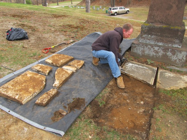 2.2.10 Captain John and Mary Rider, 1833, Danbury, CT. Unearthing of Mary Rider's headstone.
