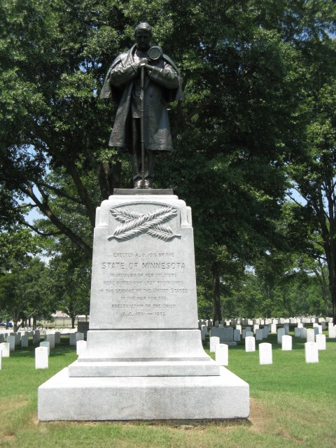 2.2.9 Minnesota Monument, John Daniels, 1916, Little Rock National Cemetery, Consolidation on front carved granite.