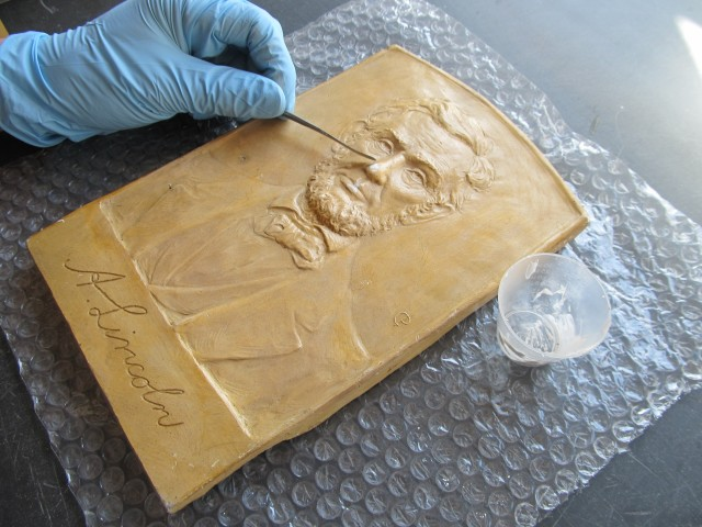 2.3.12 Abraham Lincoln, Petersen, Christian Petersen Museum, Iowa State University.  Filling small plaster losses.