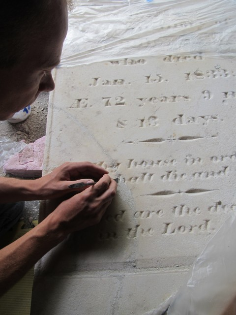 2.3.16 Captain John and Mary Rider, 1833, Danbury, CT. Carving of Jahn patches to match existing text.