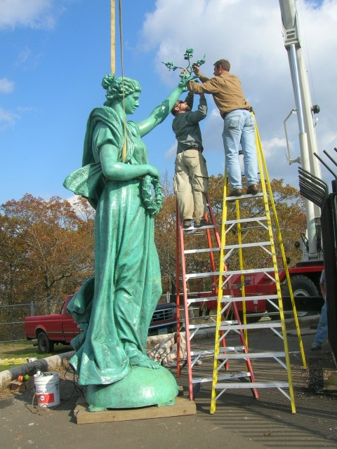 2.4.1 Peace, Soldiers and Sailors Monument, New Haven, CT. Installation of lightning protection cable.