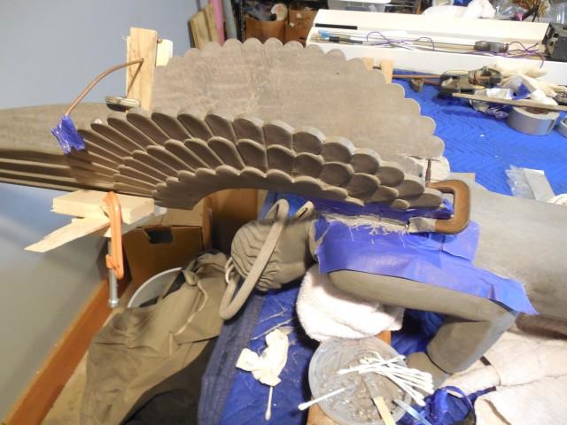 2.4.10 Aluminum Steeple Sculptures, St Thomas More, Yale.  Mending detached aluminum wing.