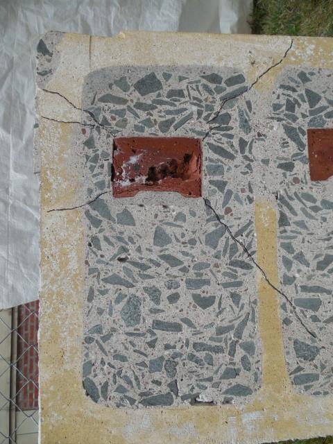2.4.15  United Spanish War Veterans Memorial, 1933, CT VA Hospital. iew of crack emanating from embedded interior brick.