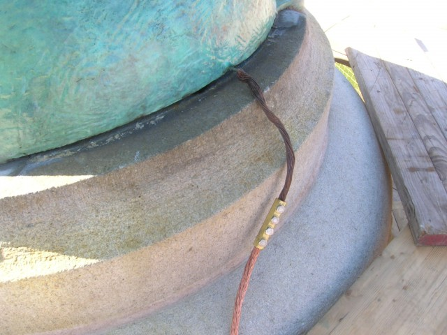 2.4.2 Peace, Soldiers and Sailors Monument, New Haven, CT. Base attachment of lightning protection cable.