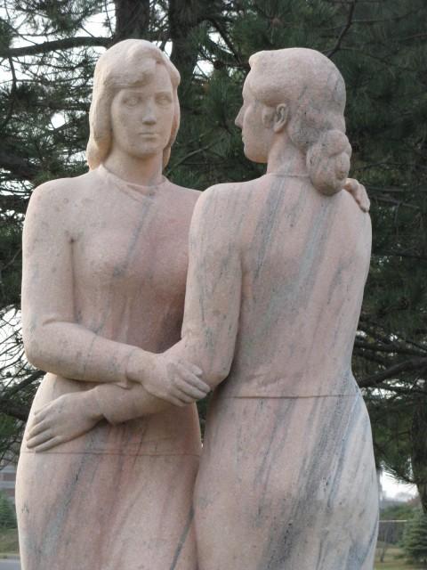 2.4.5 Neighbors, Kreis, Stamford, CT. Head repaired on Tennessee limestone sculpture.
