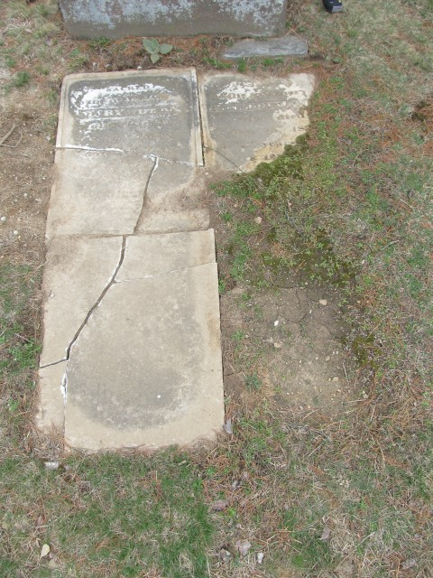 2.4.6 Mary Rider Marker, 1845, Wooster Cemetery, Danbury, CT. Front overview before treatment.