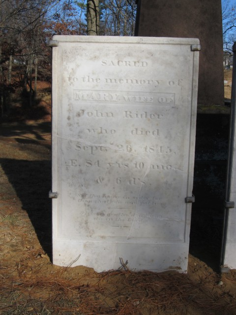 2.4.8 Mary Rider Marker, 1845, Wooster Cemetery, Danbury, CT.  Overview  after repairs.