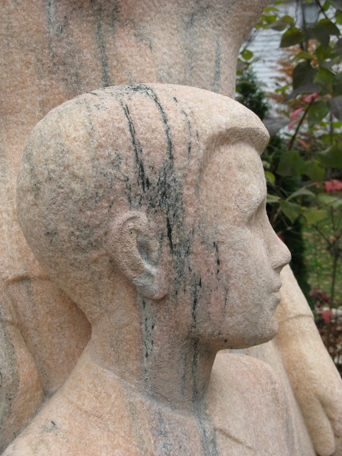2.6.10 Mother and Boy, Henry Kreis, 1937, Stamford, CT. Boy's head after color matched aggregate patches.