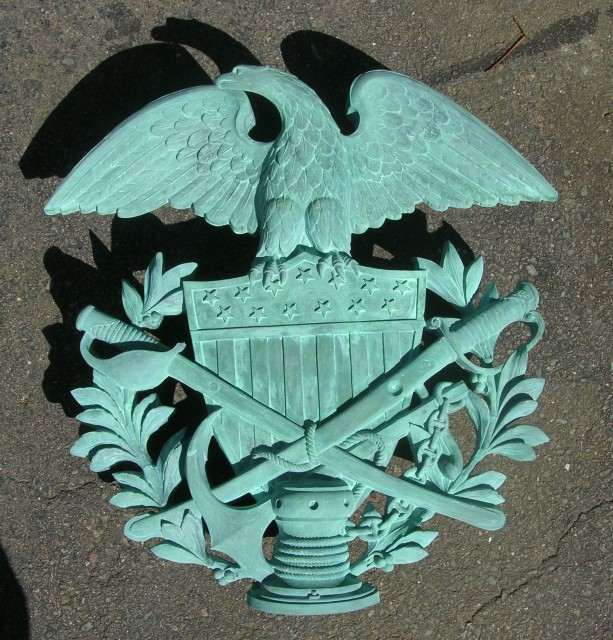 2.6.12 Soldiers and Sailors Monument, Melzar Mosman, 1876, Bridgeport, CT.  Resin replica cast to curb repeated theft.