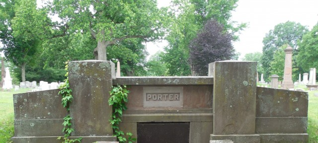 2.6.3 Porter Tomb, Old North Cemetery, Hartford, CT. Overview with sandstone replacement plaque.
