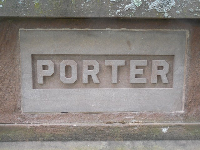 2.6.4 Porter Tomb, Old North Cemetery, Hartford, CT. Sandstone plaque. Carver Christoph Henning.