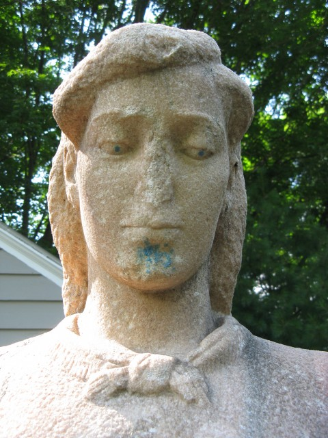 2.6.7 Mother and Boy, Henry Kreis, 1937,  Stamford, CT. Mother's head with graffiti and losses.