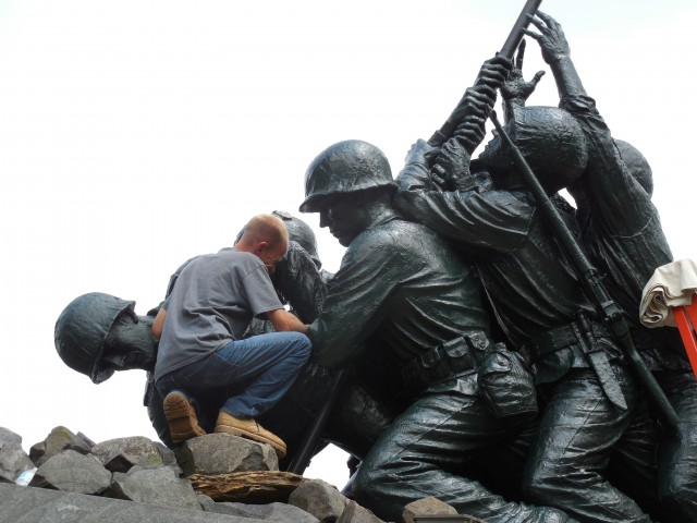 2.7.1 National Iwo Jima Memorial, Joseph Petrovics, New Britain, CT. Application of protective coating.