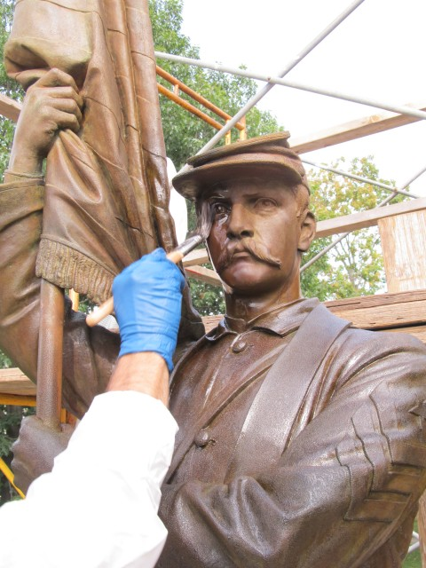 2.7.10 Civil War Memorial, Launt Thompson, 1872, Pittsfield, MA. Application of protective coating after patination.