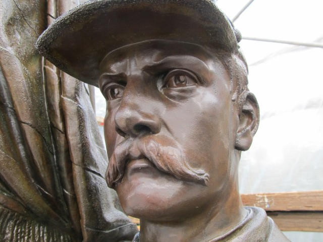 2.7.11 Civil War Memorial, Launt Thompson, 1872, Pittsfield, MA. .Overview of face after patination and coating.