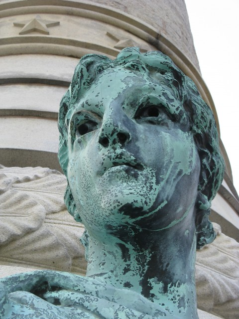 2.7.15. Victory Sculpture,Moffit & Doyle, 1887, New Haven, CT. Disfiguring corrosion before treatment.