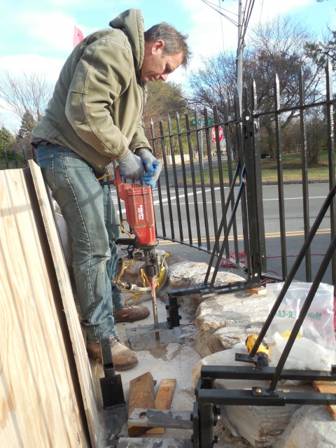 2.8.12 Iron Fence, Minute Man Monument, 1910, Westport, CT.  Installation of cantilevered, stainless anchors.