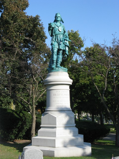 2.8.4 Red Jacket  Hamilton, 1890, Forest Lawn Cemetery, Buffalo, NY.  Monument after sculpture stabilization.