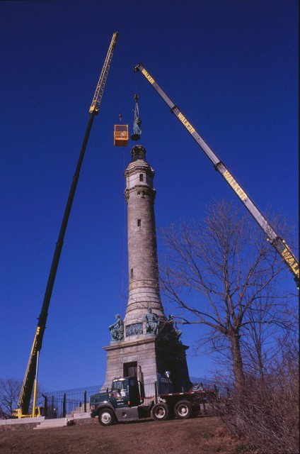 2.8.9 Moffit & Doyle, 1887, Soldiers & Sailors Monument, New Haven, CT.  Crane removal of unstable sculpture.