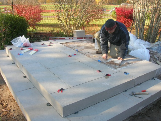 2.9.15 Calvary Scene, Italian, Sacred Heart, Hamden, CT. Resetting of limestone base and stairs.