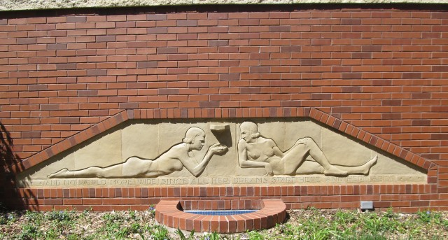 2.9.18 Reclining Nudes, Christian Petersen, 1936, University Museums, Iowa State University, Ames.  Overview of the terra cotta relief sculpture.