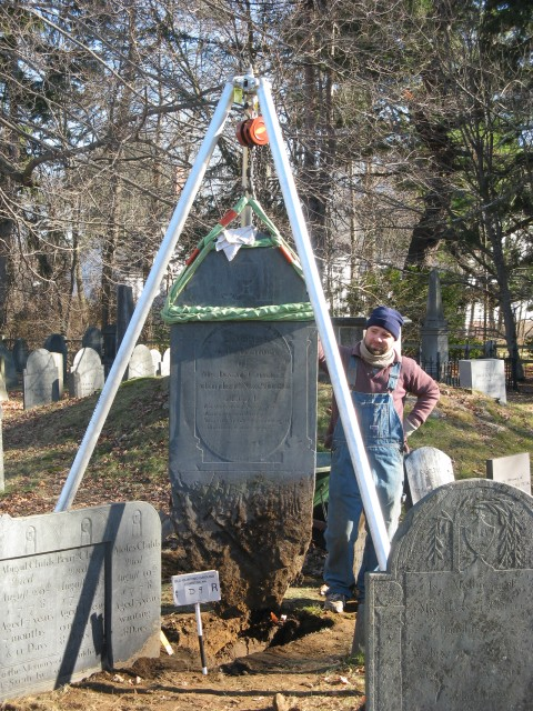 2.9.6  Childs Marker, 1811, Olde Burying Ground (1690), Lexington, MA. Resetting slate marker.