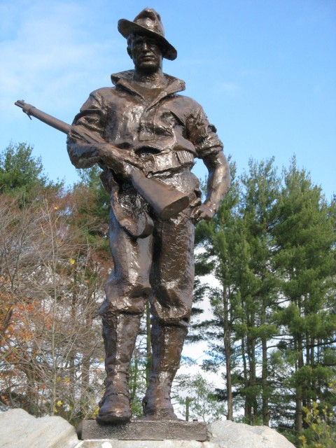 3.1.11 Hiker, Allen Newman, Mott, 1904, Bristol, CT.  View of repaired and coated zinc sculpture of soldier after treatment.