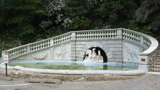 3.2.1 Bendel Horse Fountain,  1850, Stamford Museum and Nature Center, CT.  Overview of the Italian marble fountain.