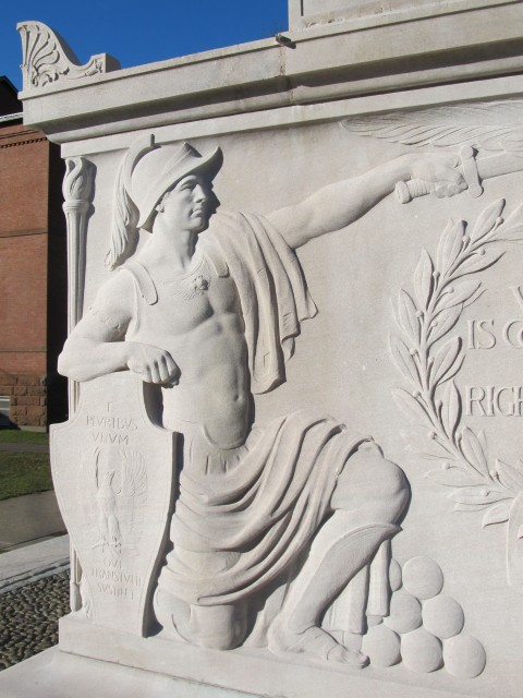 3.2.14 WWI Memorial, Evelyn Beatrice Longman, 1921, Naugatuck, CT.  Tennessee Limestone after treatment.