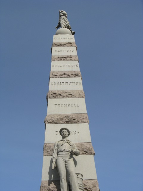 3.2.16 Soldiers and Sailors Monument, Moffit and Doyle, 1896, New London, CT.  Overview of upper red granite and Westerly blue  granite.