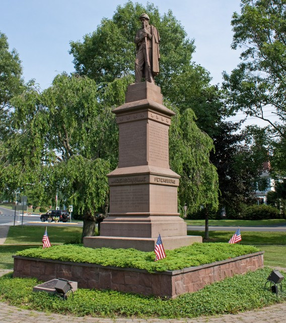 3.2.19 Soldiers Monument, Charles Conrads, 1868, Granby, CT. Overview of CT Valley sandstone monument after treatment.