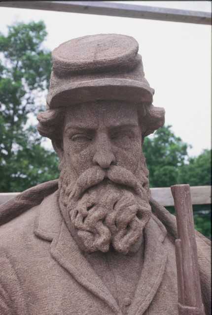 3.2.6 Soldiers Monument, Charles Conrads, 1868, Granby, CT.  CT Valley sandstone figure after conservation treatment.