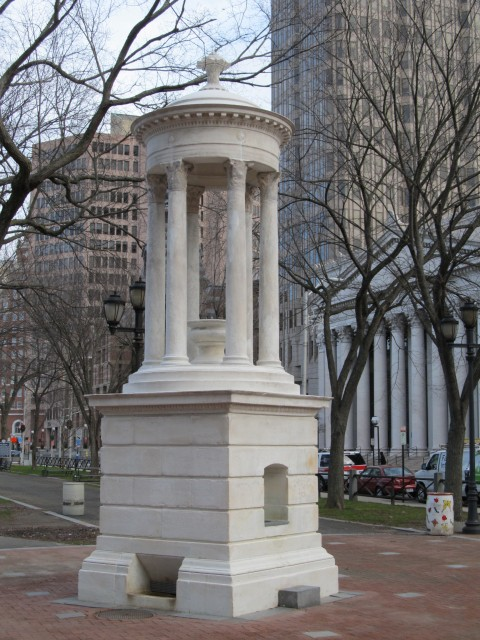 3.2.7 Bennett Fountain, John Ferguson Weir, 1907, New Haven Green, CT. Marble based on  Choragic Monument, Lysicrates, Athens, 334 BCE.
