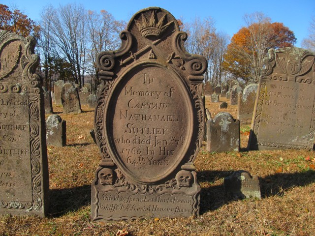 3.2.9 Capt. Nathanael Sutlief, 1760, Old Burying Ground, Durham, CT. View of treated CT Valley Sandstone Marker.