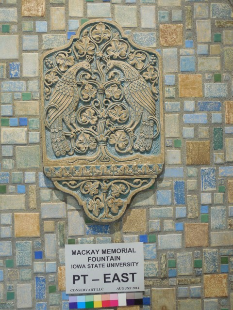 3.3.11 MacKay Memorial Fountain, Batchelder Tile, 1926, Iowa State University, Ames. After paint removal and repairs.