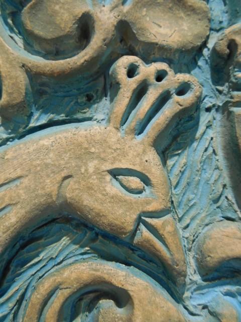 3.3.12  MacKay Memorial Fountain, Batchelder Tile, 1926, Iowa State University, Ames. Detail of low fire glazed tile.