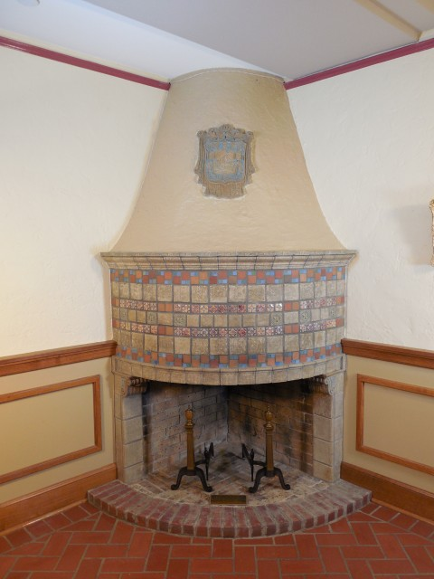 3.3.17 Tea Room Fireplace, Batchelder Tile, Iowa State University. Tile fireplace after treatment.